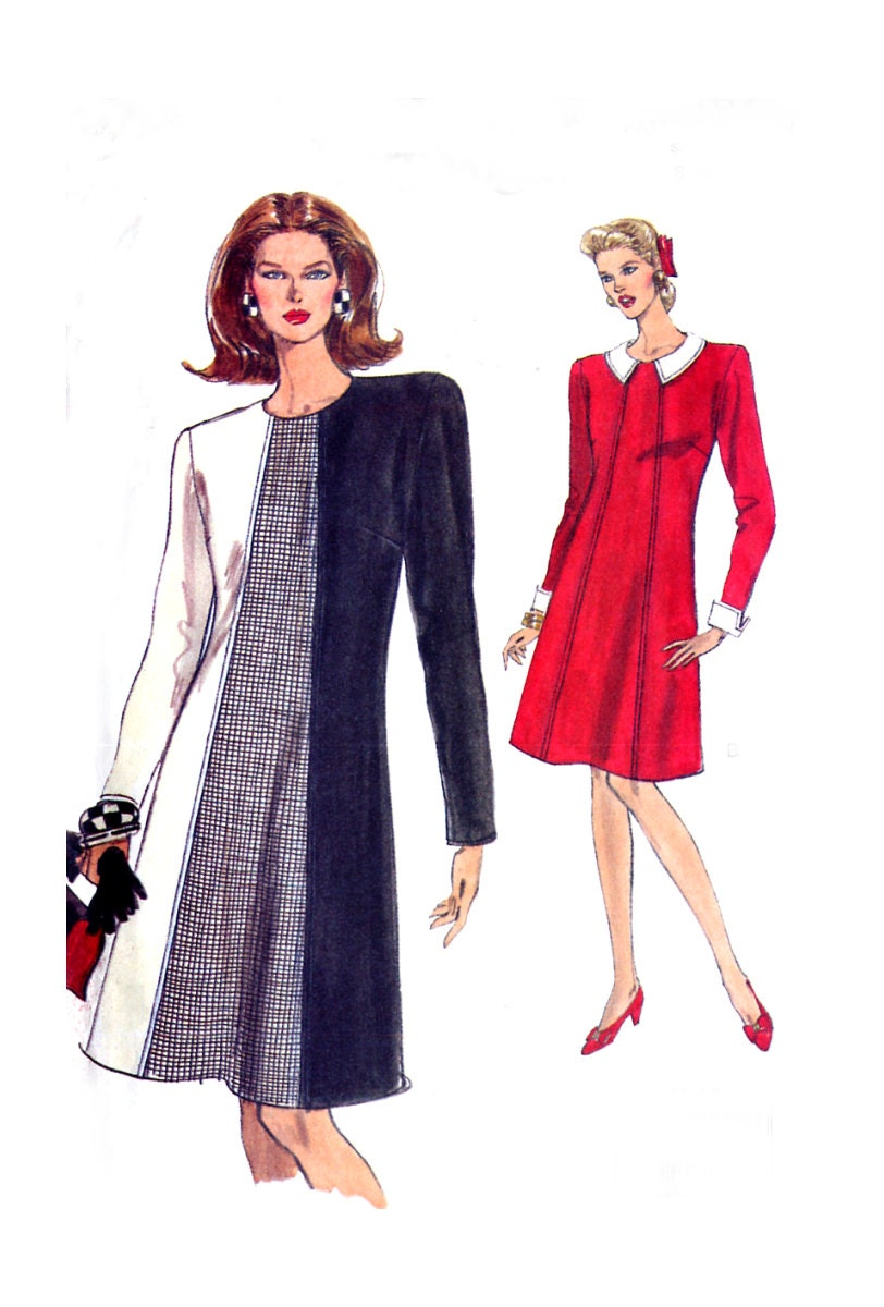 Vogue 8167 Easy A-Line Dress Pattern - Long Sleeves - Sizes 8-10-12 - Uncut - treazureddesignz