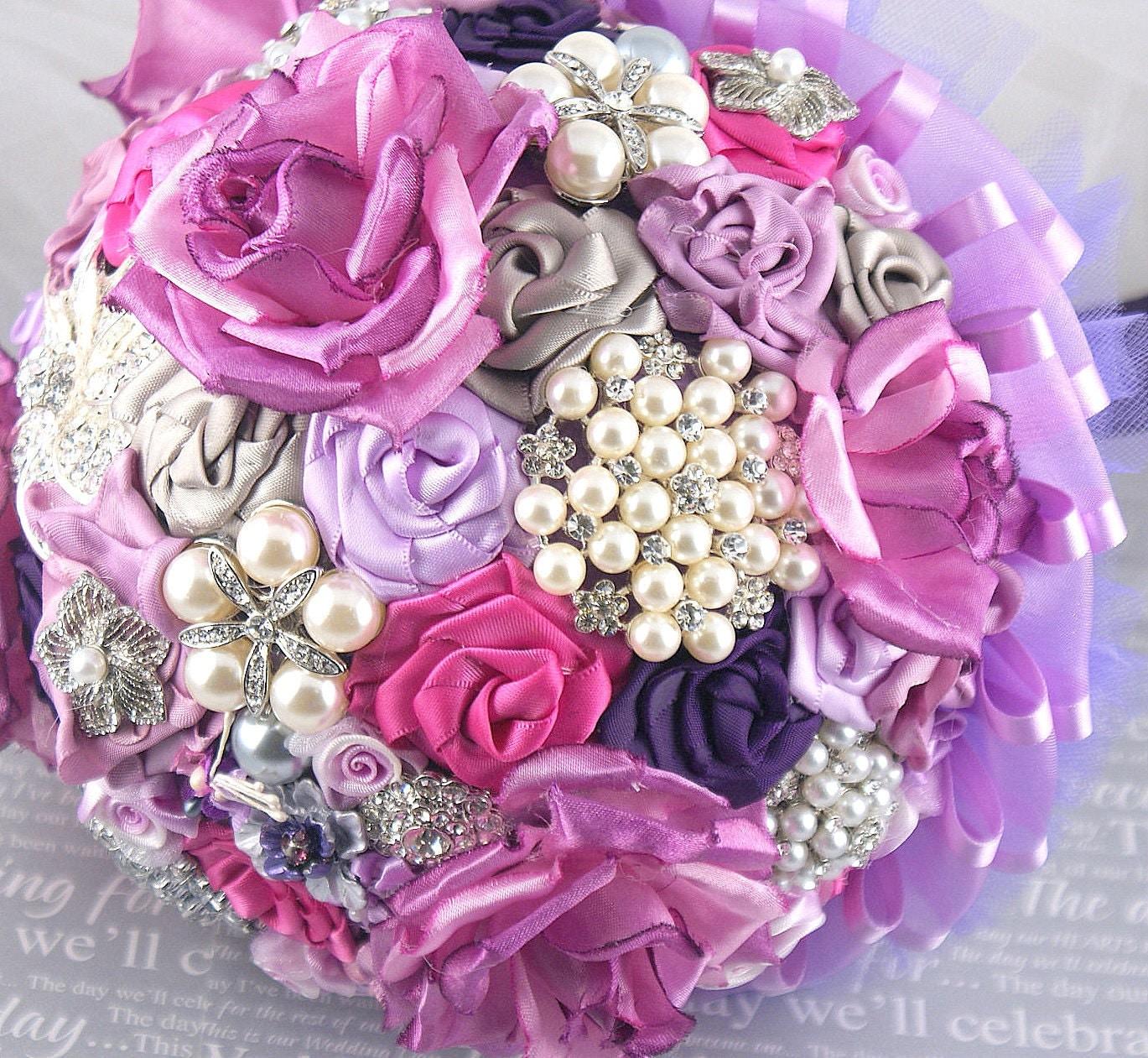 Брошь Букет Jeweled букет свадебный букет в сирень, слива и светло-серый