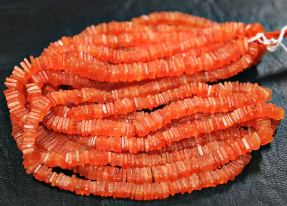 14 Inches - 5mm - Natural Orange Carnelian Smooth Heishi Cube Chips Beads Strand Rondelles - jewelsexports