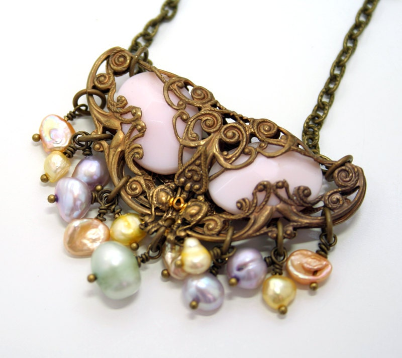 Art Deco Necklace Filigree Pearl Victorian Style Vintage Inspired Multicolor Pearl Necklace - DesignsBloom
