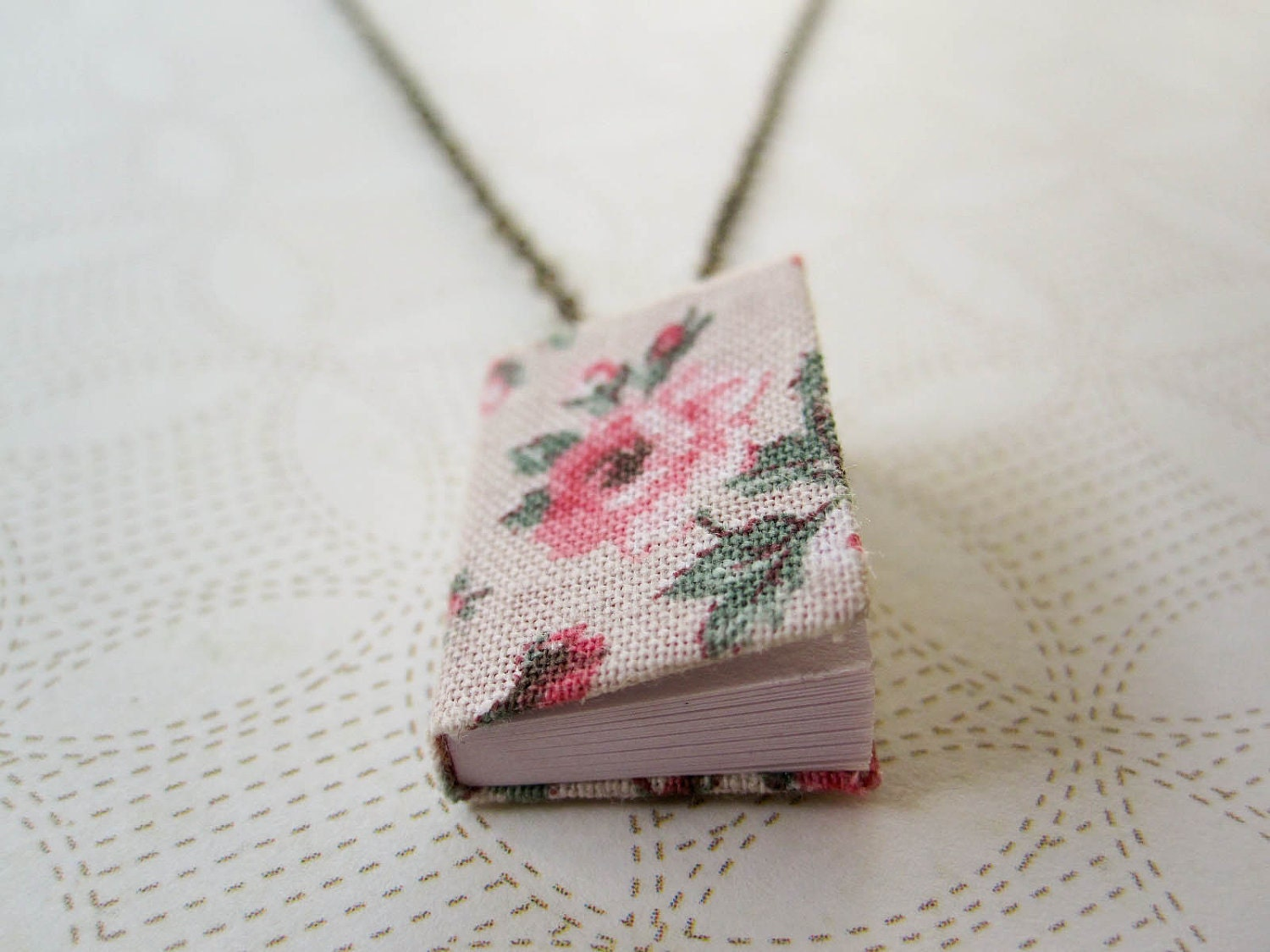 Tiny Book Necklace - Journal Necklace - Book Jewelry - Miniature - Shabby Chic Jewelry - Little Thoughts