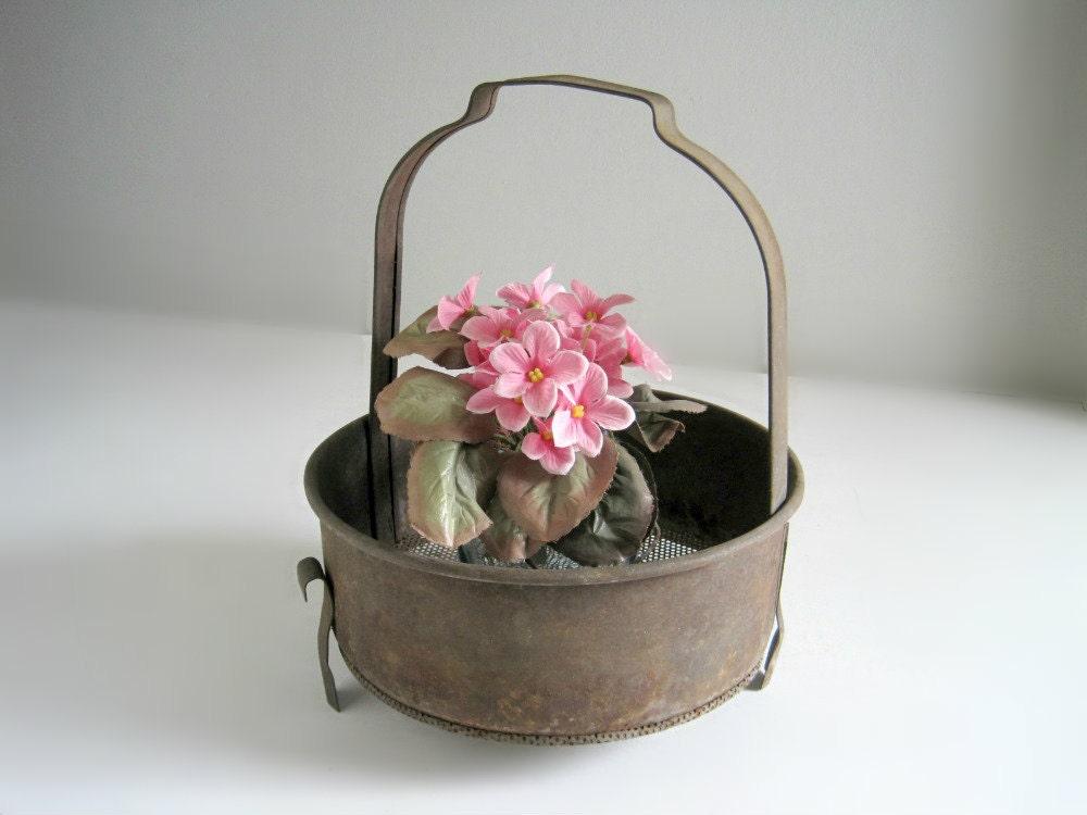 Vintage Rustic Industrial Vulcan Metal Basket - GoldenDaysAntiques