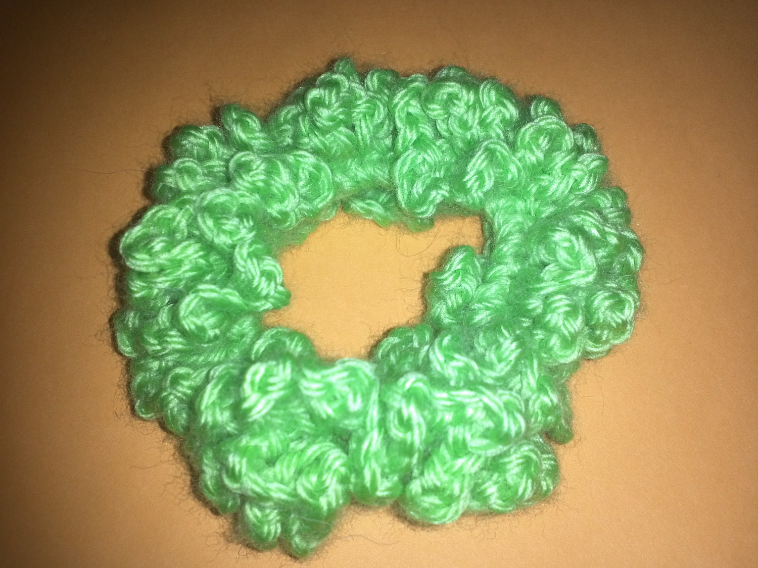 Handmade Crocheted Scrunchie Hair Band Ponytail Holder in Lime Green, SPECIAL OFFER INSIDE (24)
