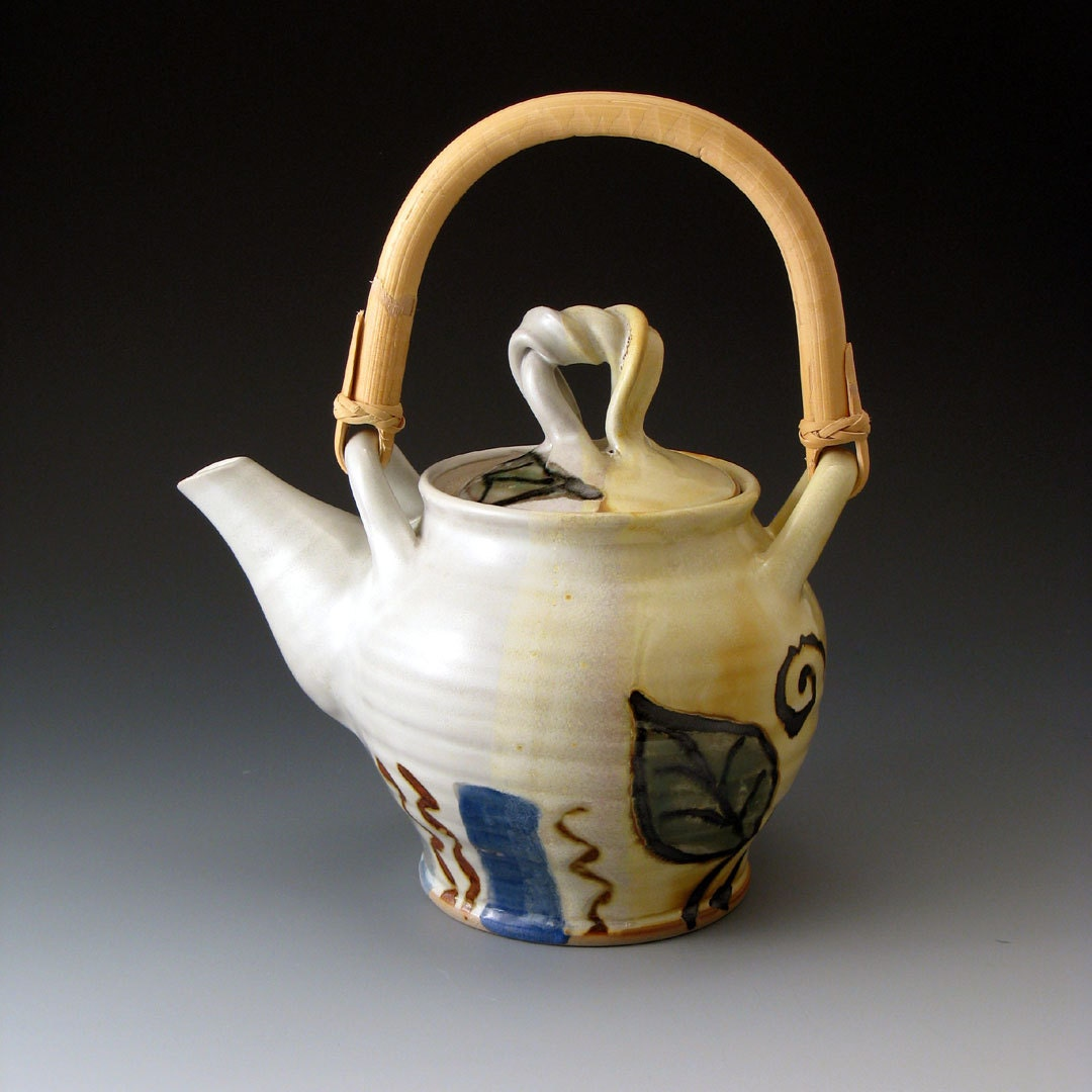 Teapot with Leaf Motif and Cane Handle - Ceramic Teapot