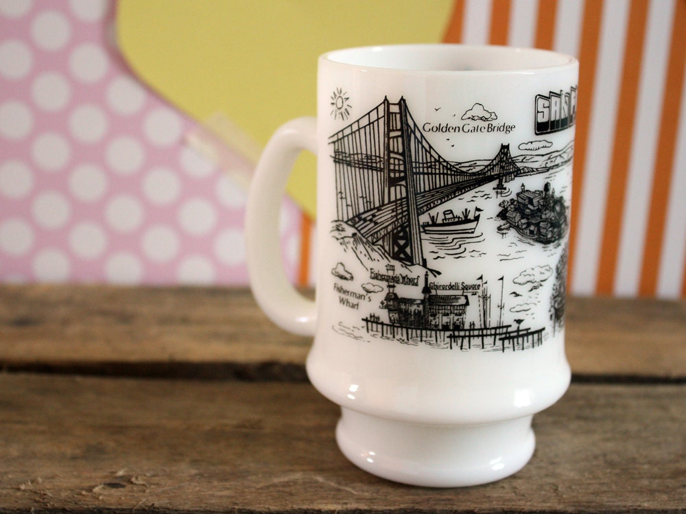 Vintage San Francisco California Milk Glass Souvenir Mug - kitschparade