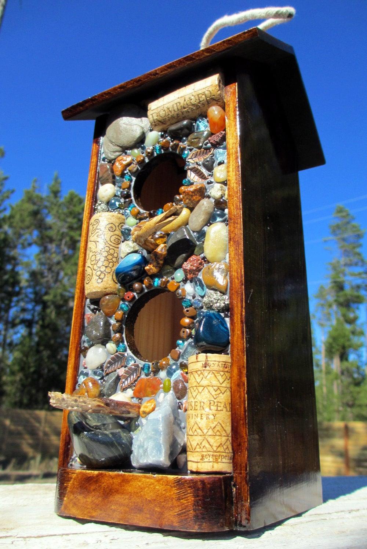 Mosaic Stone and Wine Cork  Birdhouse-Bird Feeder