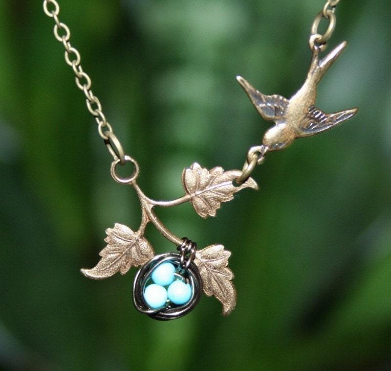 Bird Necklace with Bird Nest on Branch