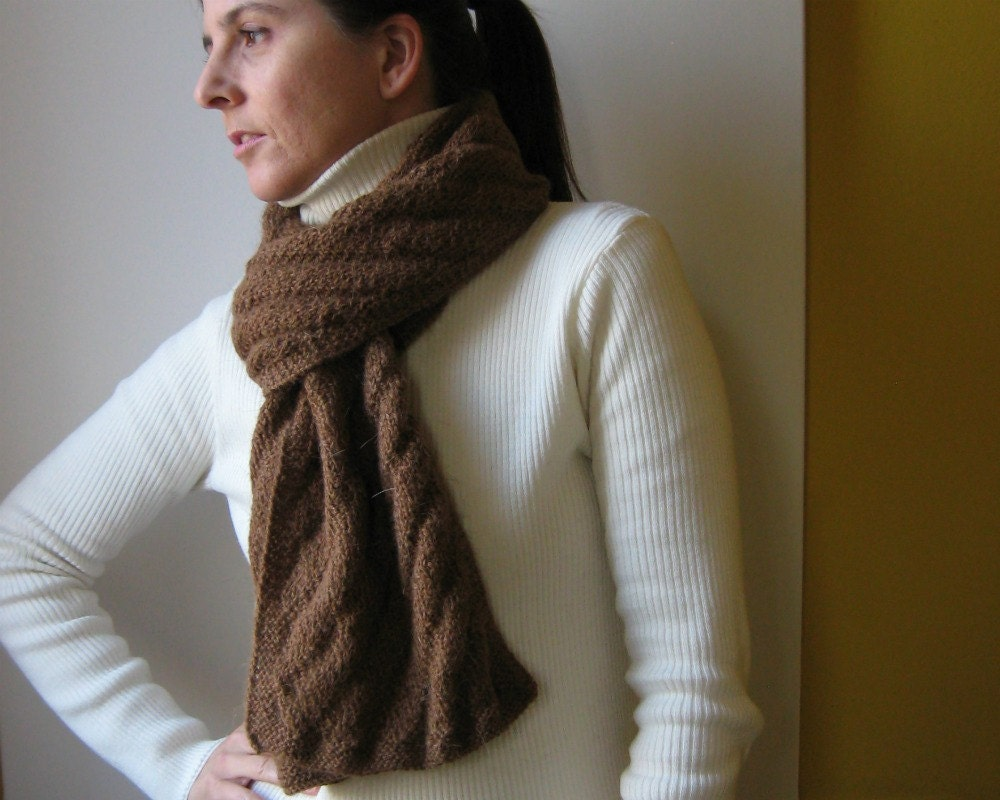 brown scarf - knitted in undyed llama yarn