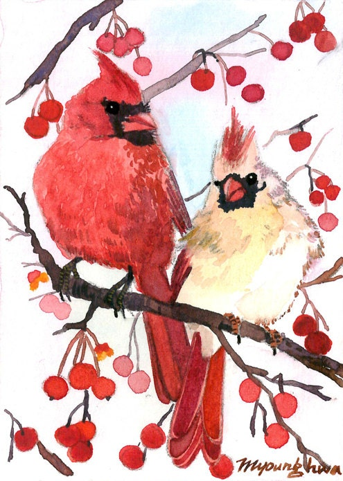 ACEO Limited Edition 4/25- Winter cardinal on a berry tree, in watercolor - annalee377