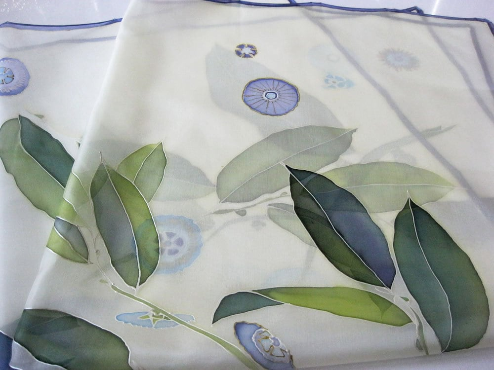 Silk scarf Hand painted - Christmas gift - Floral pastel green blue emerald - made TO ORDER - DEsilk