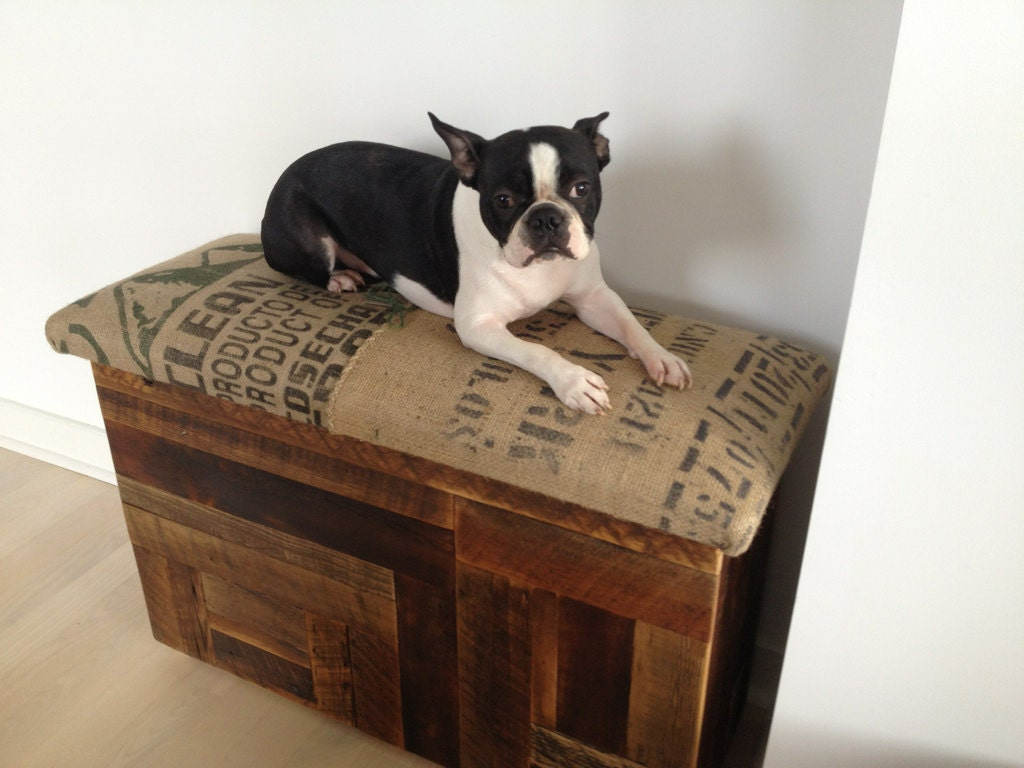 Salvaged wood and recycled coffee sack storage benches