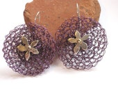 Purple crochet earrings with hollow form silver flowers and copper crochet  jewelry - riorita
