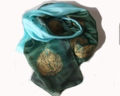 hand painted silk scarf in green and aqua with golden leaf