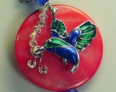 Mother of Pearl with enamel hummingbird and Swarovski crystal beads - LaS