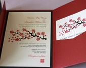 Red Cherry Blossom Pocketfold Wedding Invitation (Sample Only)