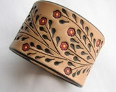 Little Red Flowers on a Wide Leather Cuff