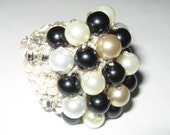 Chunky Cocktail Hand Knit Ring - Adjustable - Black, White, White Pearl