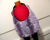 Purple Snakeskin Print Jersey with Upcycled Black and White Belt Strap Hobo Rakc