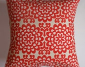 Throw Pillow 16X16 Removable cover sewn with Amy Butler's Wallflower Cherry Red fabric