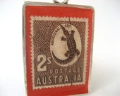 Vintage Australian Postage Stamp Necklace. Aboriginal Art. Handcrated by Juanitas on Etsy.