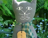 Primitive Folk Art Gray Flannel Purr Kitty Cat Doll