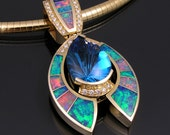 Australian opal inlay pendant with topaz and diamonds