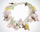 Girls Pearls And Crosses Charm  Bracelet.....flower girl...bridal....wedding.....Free US shipping