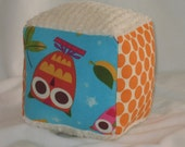 Cute Blue Owls and Chenille Fabric Block Rattle