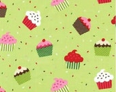 Two (2) Yards - Caleb Gray Green Holiday Cupcake print by Robert Kaufman