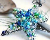 Wire Wrapped Star Beaded Ornament, Suncatcher or Decoration - Blue Christmas