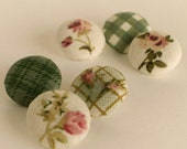 Fabric Buttons - Green Garden - 6 Small Beige, Pink Floral, Rose and Gingham Fabric Covered Buttons