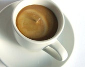 SOY CANDLE - Espresso Shot Coffee Cup with Saucer - Hazelnut Latte Scented