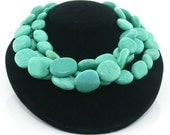 Wonderful Triple Strand Natural Turquoise Beads Necklace