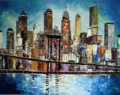 I love New York-Original Painting - acrylic on canvas - new york - cityscape- colourful - art -texture-unique-american art -colorful art