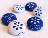Fabric Buttons - Hungarian Blue Dying Flowers In Blue and White - 6 Small Fabric Covered Buttons