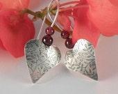 Silver Heart Earrings with Garnets, Garnet and Heart Sterling Silver Earrings, Miniature Flowers - EfratJewelry