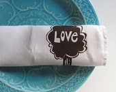 Linen Tea Towel - White with Love Tree in Chocolate Brown