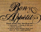 Bon Appetit Definition Defined France French Text Digital Image Download Sheet Transfer To Pillows Totes Tea Towels Burlap No.1683