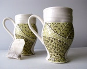 Green Mug Pair - FREE SHIPPING -