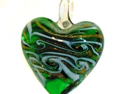 Green and White Gold Foil Glass Lampwork Heart Pendant