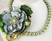 Bridal Statement Necklace Moss Green with Handmade Satin Flower, Czech Pearls and Repurposed Rhinestone Brooch - SolBijou