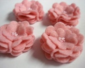 Set of 6pcs handmade felt flower - pink (SCF)
