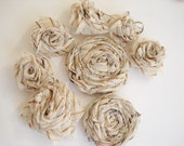 Striped Creamy 2 Rolled 6 Folded Roses Handsewn Organza Flowers 8 pcs