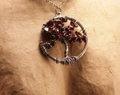 Ashley - purple garnet chip and oxidized sterling silver tree of life pendant necklace