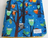 Night Owls Amy Schimler Fabric with  Gold Minky Dot Security Blanket