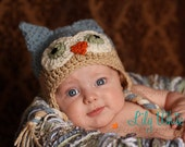 Country Blue and Tan Ear Flap Owl Hat  12-24  Month