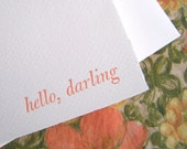 hello, darling -- letterpress greeting card, cantaloupe/peach