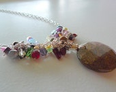 Bronzite Round Disc And Lots Of Clusters Of Multi Color Stones 22 Inch Necklace