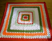 Crochet Blanket - Large Square style blanket with burnt orange/orange/sage green/spring green/white      220