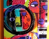 Original painting Colorful Abstract Faces In Acrylic Self taught Artist 24x48